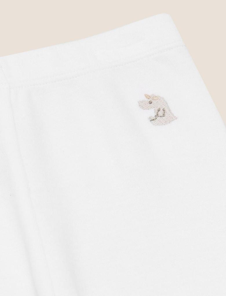 Bebek Krem Grafik Desenli Legging Tayt (0-12 Ay)