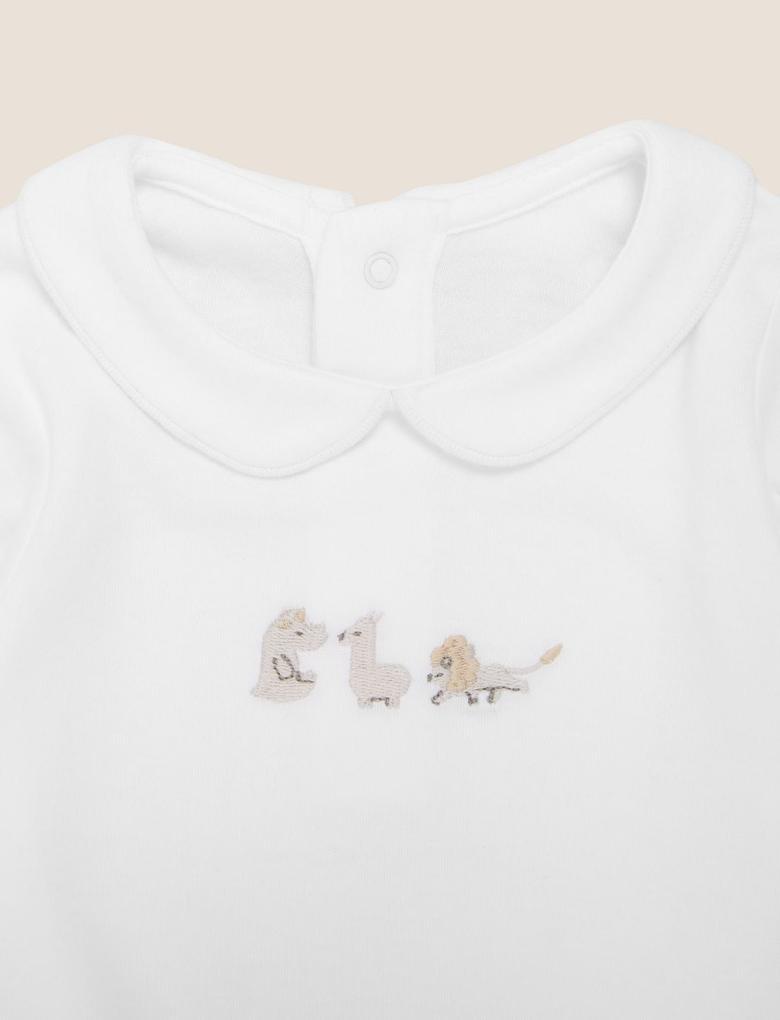 Bebek Krem Organik Pamuklu İşlemeli Uyku Tulumu
