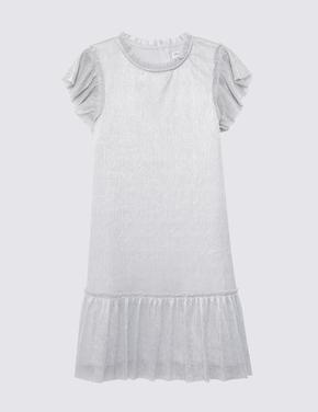 Kız Çocuk Gümüş Pileli Elbise