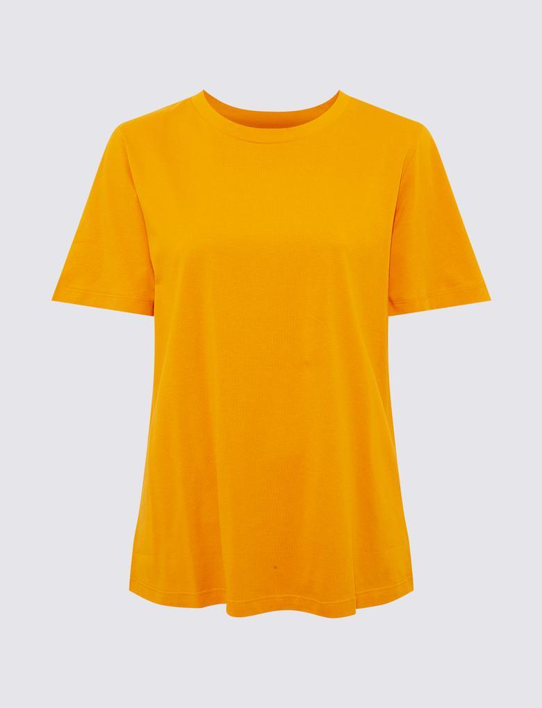 Kadın Turuncu Saf Pamuklu Straight Fit T-Shirt