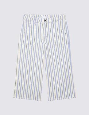 Kız Çocuk Mavi Çizgili Wide Leg Jean Pantolon