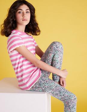 Kız Çocuk Multi Renk Organik Pamuklu Çiçek Desenli Tayt