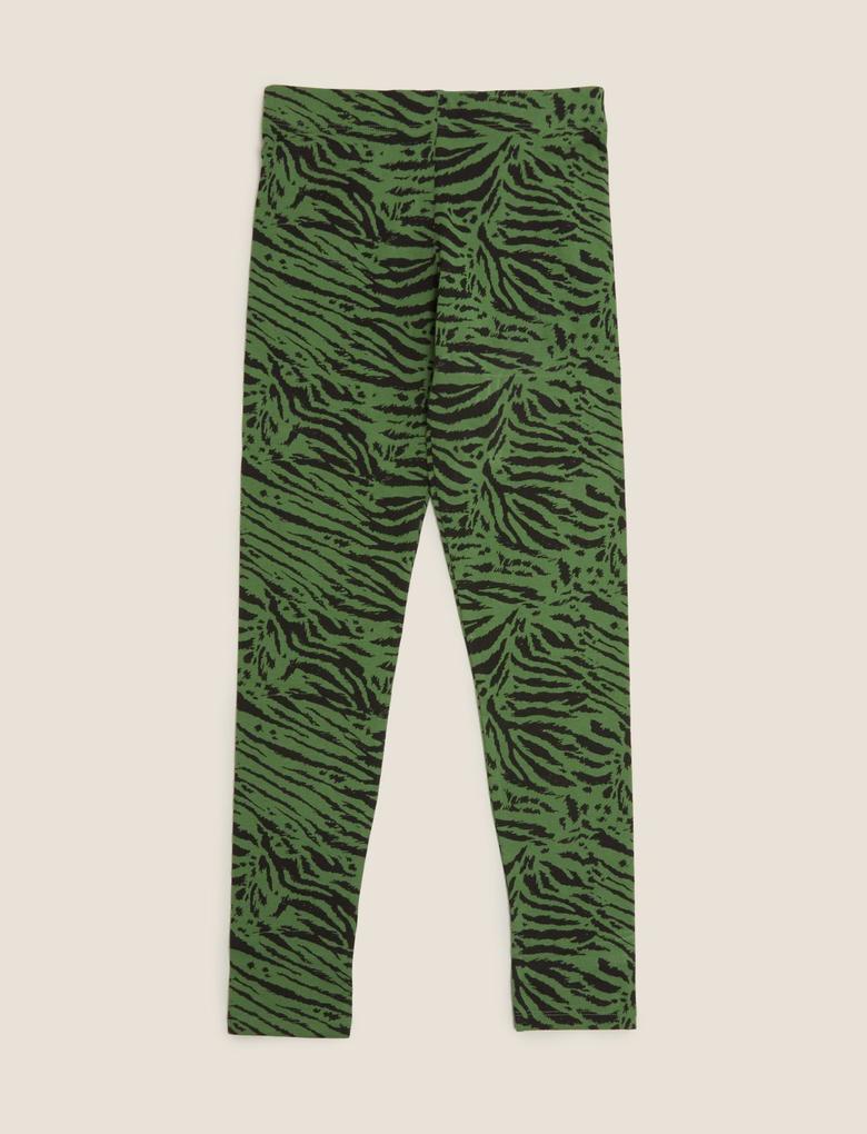 Kız Çocuk Yeşil Organik Pamuklu Desenli Tayt
