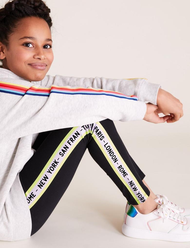 Kız Çocuk Siyah Organik Pamuklu Şerit Detaylı Tayt