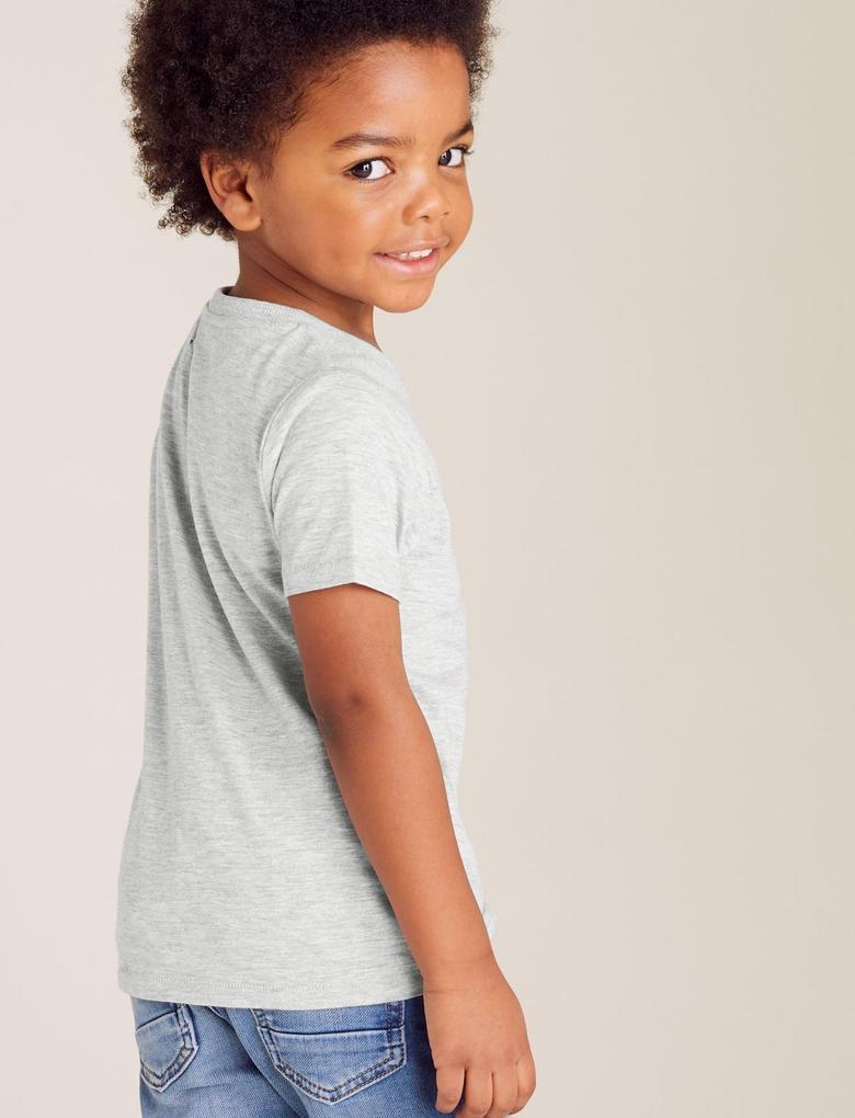 Erkek Çocuk Gri Organik Pamuklu Kısa Kollu T-Shirt