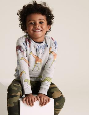 Erkek Çocuk Gri Organik Pamuklu Desenli Sweatshirt