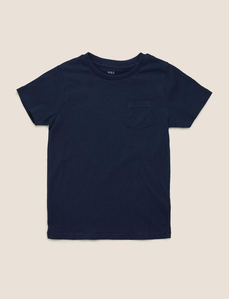 Erkek Çocuk Lacivert Organik Pamuklu T-Shirt