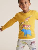 Erkek Çocuk Sarı Organik Pamuklu Desenli Sweatshirt