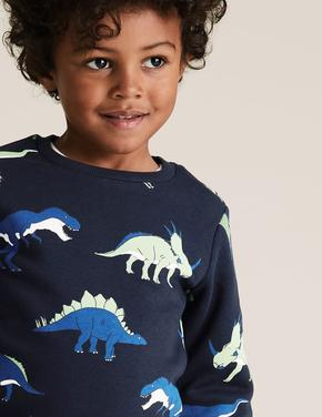 Erkek Çocuk Lacivert Organik Pamuklu Desenli Sweatshirt
