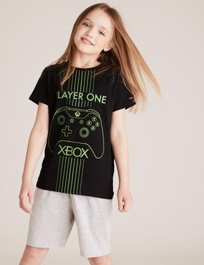 Çocuk Siyah Xbox™ Şortlu Pijama Takımı