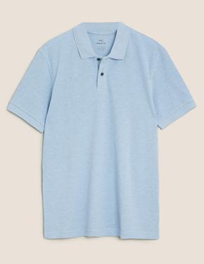 Erkek Mavi Saf Pamuklu Pique Polo Yaka T-Shirt