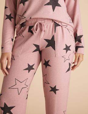 Kadın Pembe Yıldız Desenli Jogger Pijama Altı