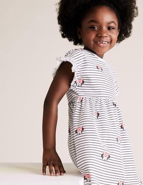 Kız Çocuk Beyaz Saf Pamuklu Minnie™ Elbise