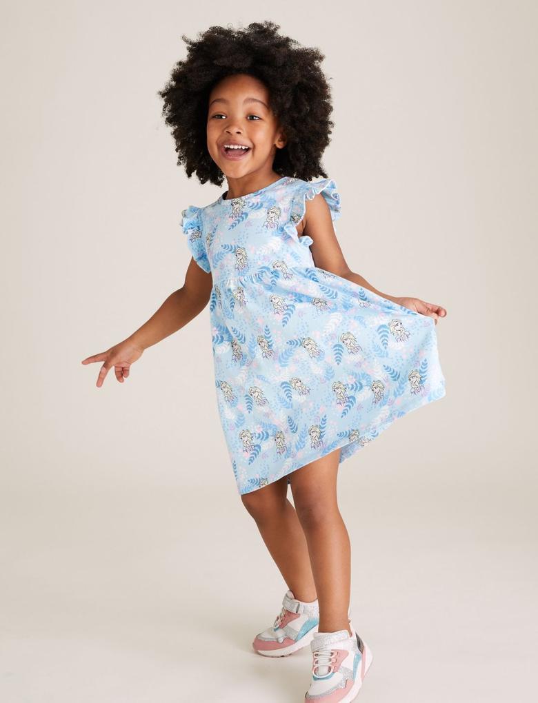 Kız Çocuk Mavi Saf Pamuklu Frozen™ Elbise