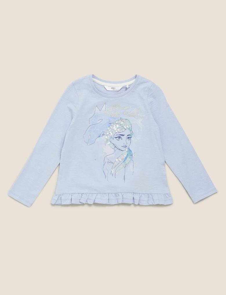 Kız Çocuk Mavi Saf Pamuklu Disney Frozen™ Bluz