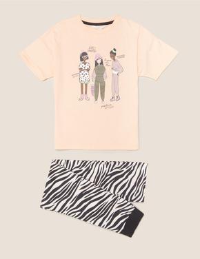Çocuk Multi Renk Saf Pamuklu Desenli Pijama Takımı