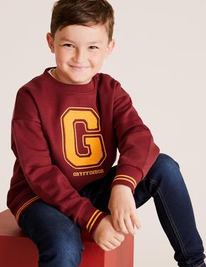 Erkek Çocuk Kırmızı Harry Potter™ Yuvarlak Yaka Sweatshirt
