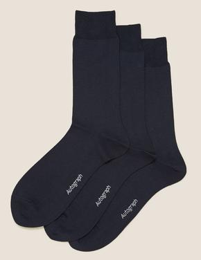 Erkek Lacivert 3'lü Modal Karışımlı Çorap Seti
