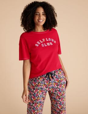 Kadın Kırmızı Saf Pamuklu Slogan Pijama Üstü