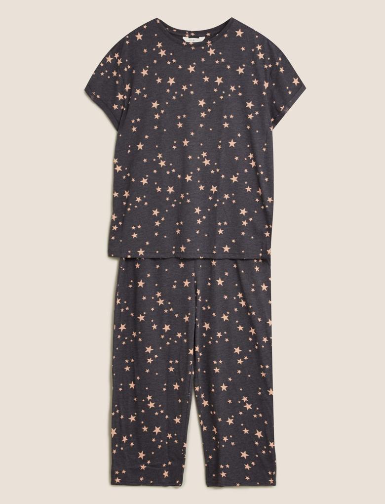 Kadın Gri Yıldız Desenli Pijama Takımı