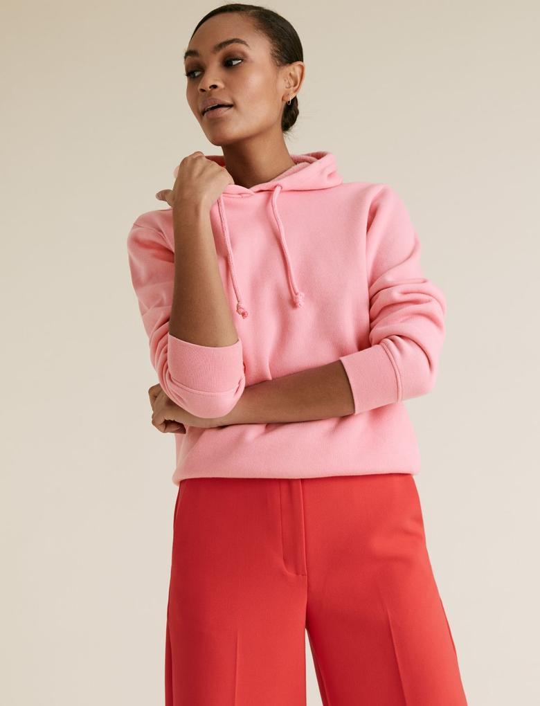 Kadın Pembe Pamuklu Kapüşonlu Sweatshirt
