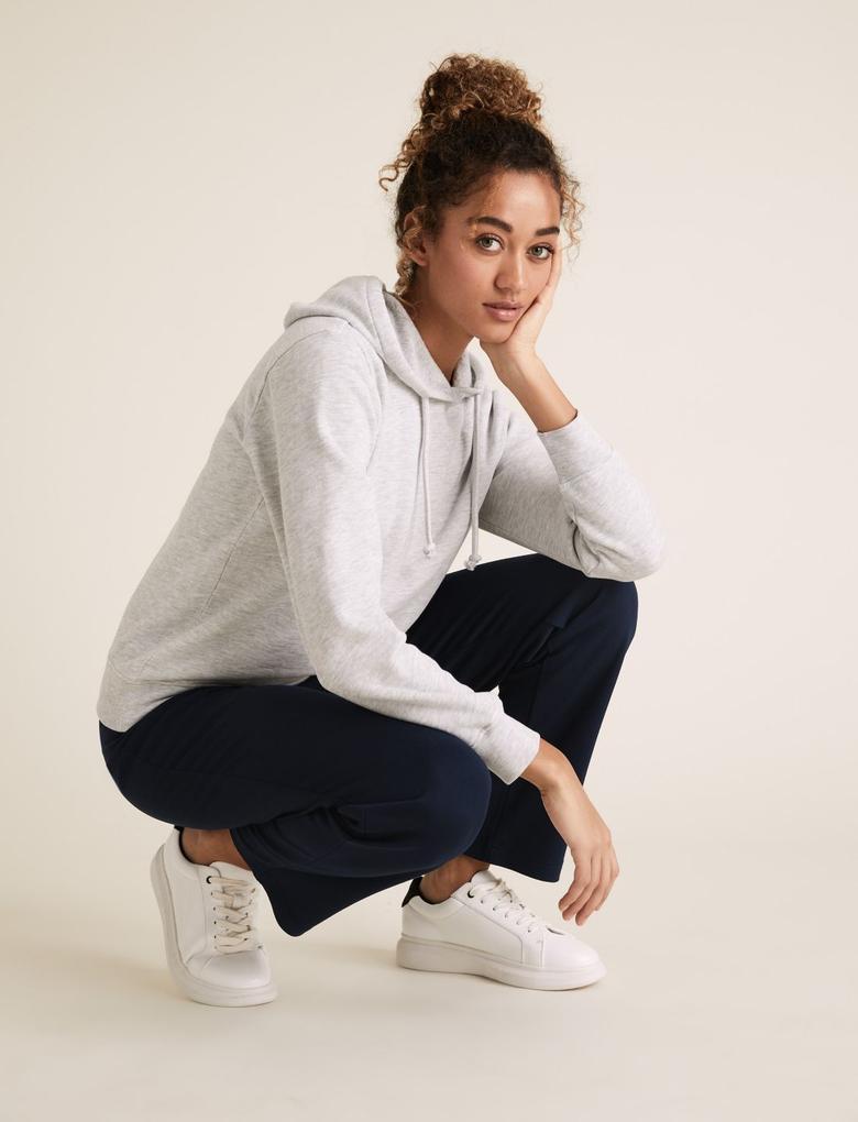 Kadın Gri Pamuklu Kapüşonlu Sweatshirt