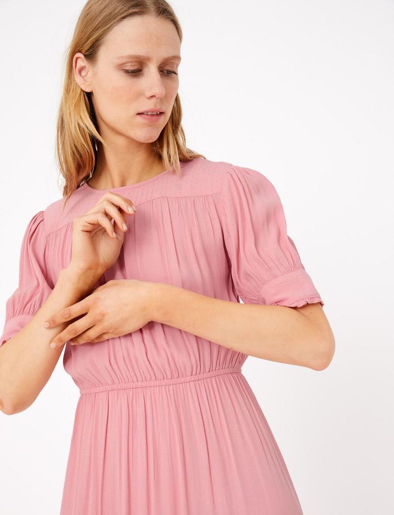 Kadın Turuncu Pileli Kısa Kollu Midi Elbise
