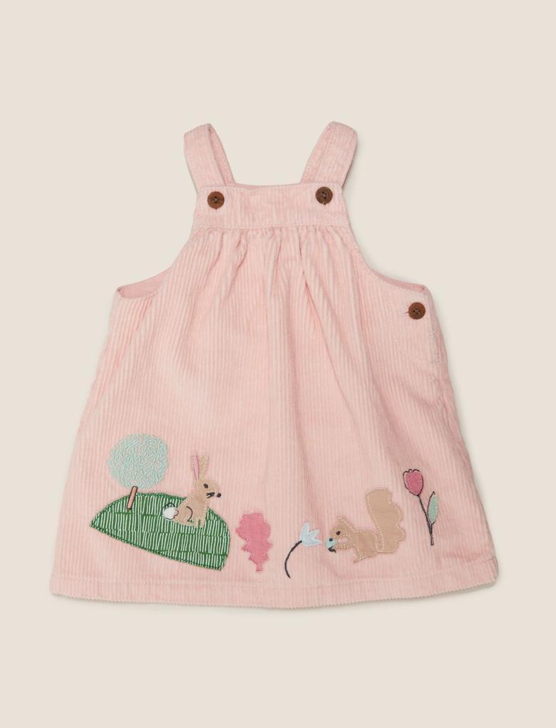 Bebek Pembe Aplikeli Elbise ve Çorap Takımı