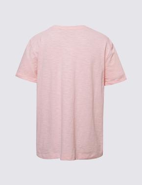 Kadın Pembe Saf Pamuklu Yuvarlak Yaka T-shirt