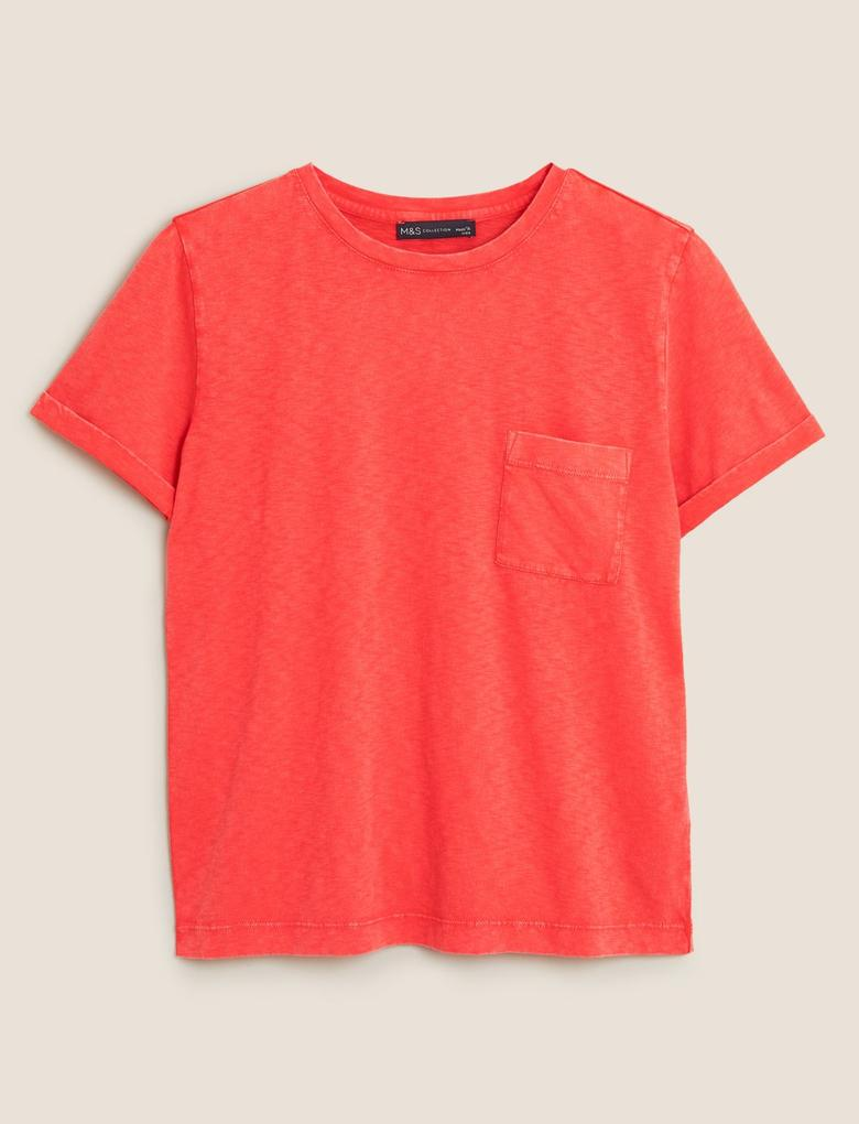 Kadın Kırmızı Saf Pamuklu Yuvarlak Yaka T-shirt