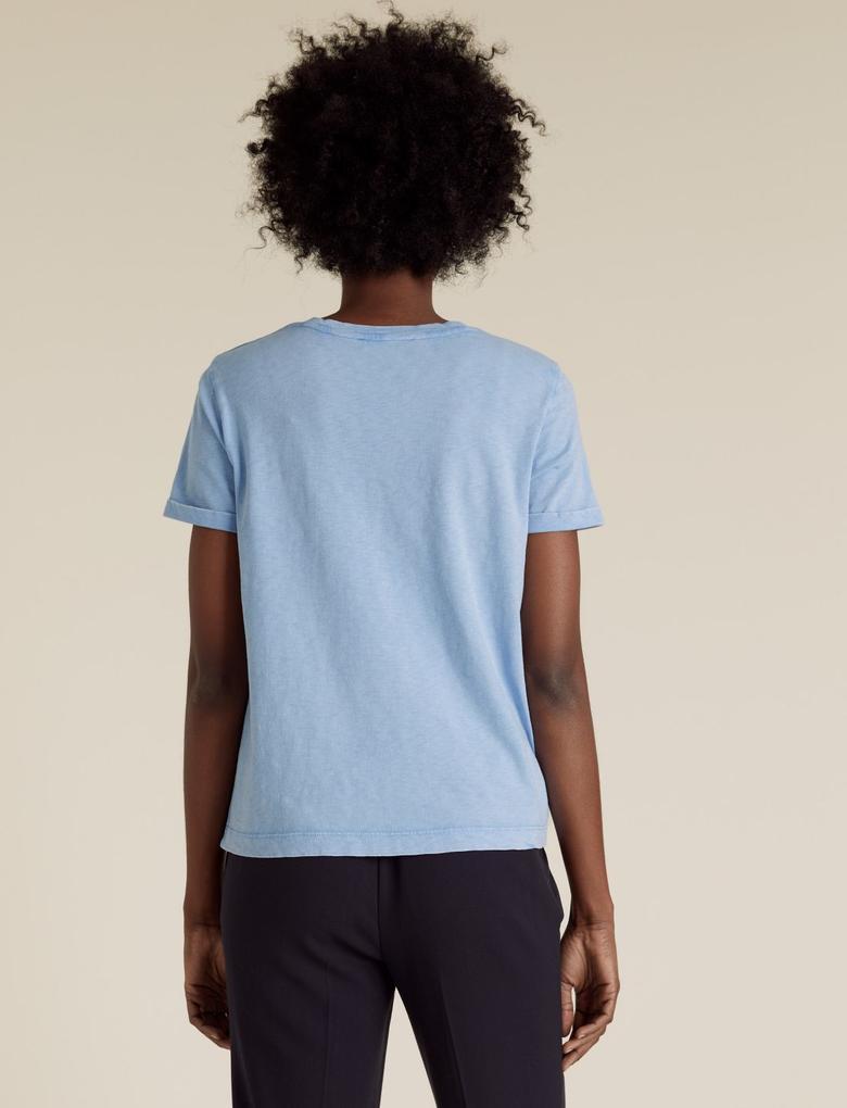 Kadın Mavi Saf Pamuklu Yuvarlak Yaka T-shirt