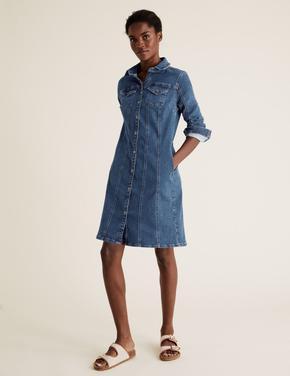 Kadın Mavi Denim Mini Elbise