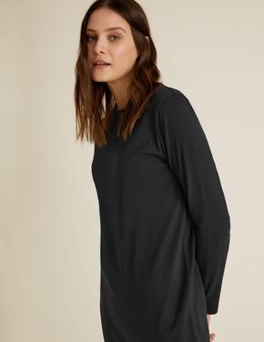 Kadın Siyah Saf Pamuklu Midi Elbise