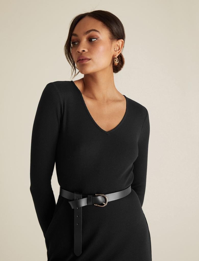 Kadın Siyah Fitilli V Yaka Elbise