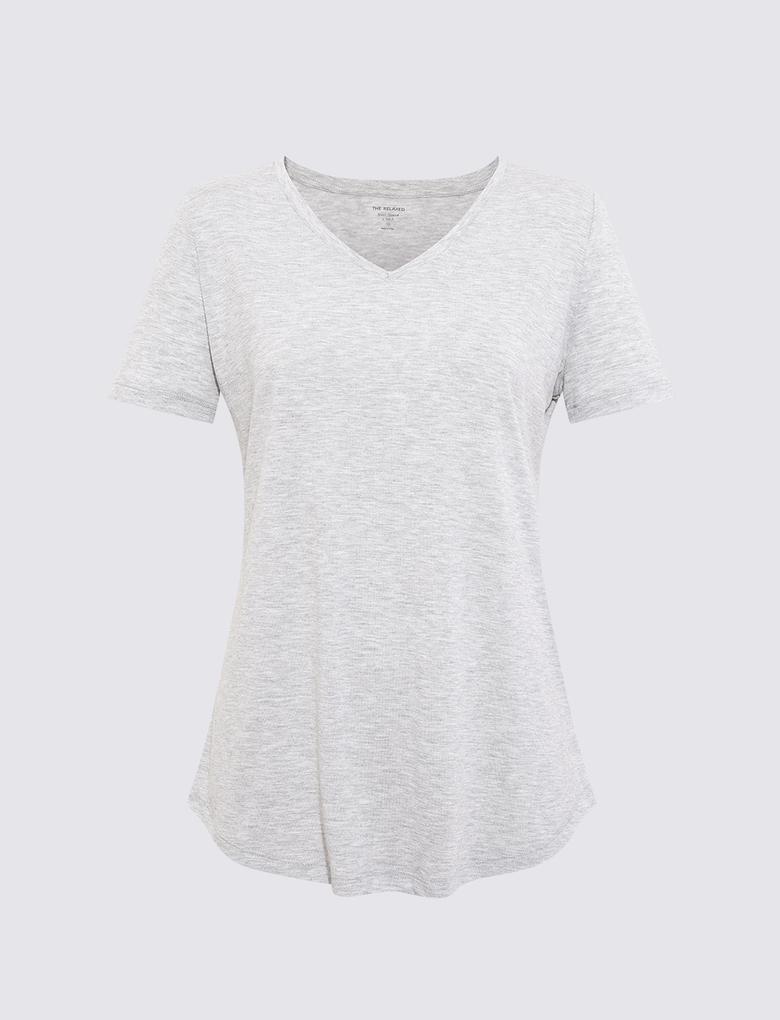 Kadın Gri Relaxed V Yaka T-Shirt