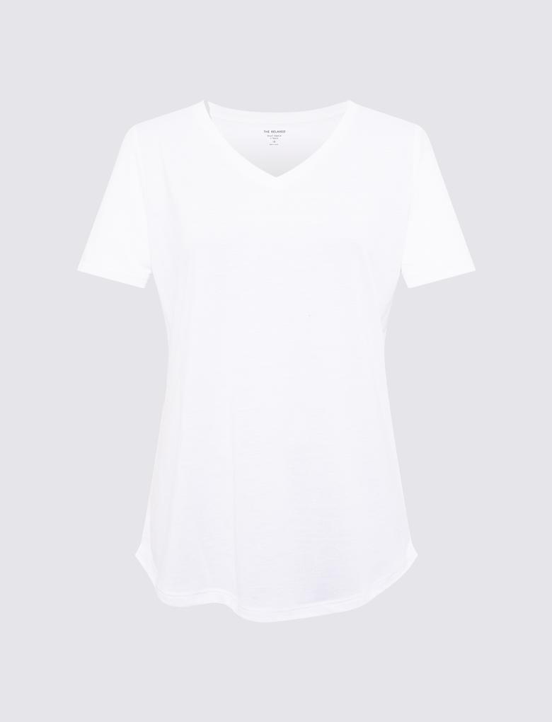 Kadın Beyaz Relaxed V Yaka T-Shirt