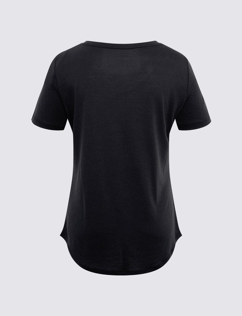 Kadın Siyah Relaxed V Yaka T-Shirt