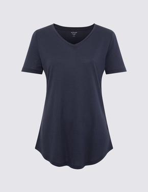 Kadın Lacivert Relaxed V Yaka T-Shirt