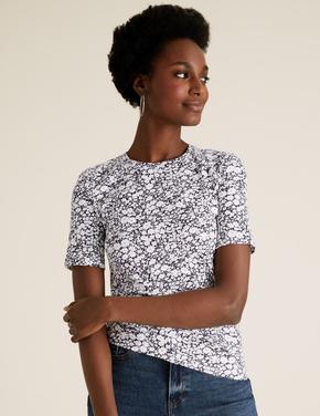 Kadın Lacivert Saf Pamuklu Çiçek Desenli T-Shirt