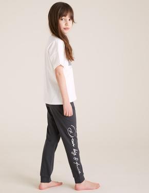Çocuk Multi Renk Saf Pamuklu Grafik Pijama Takımı