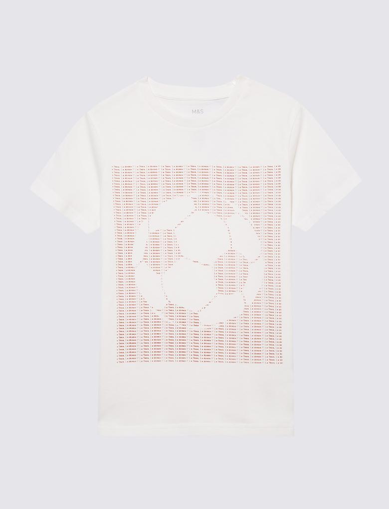 Erkek Çocuk Beyaz Futbol Grafik T-Shirt