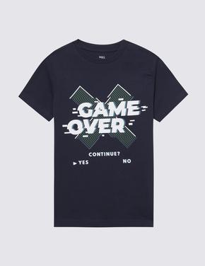Erkek Çocuk Lacivert Pamuklu Grafik T-Shirt