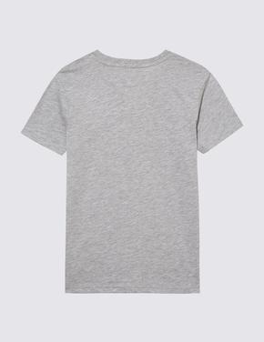 Erkek Çocuk Gri Pamuklu Grafik T-Shirt