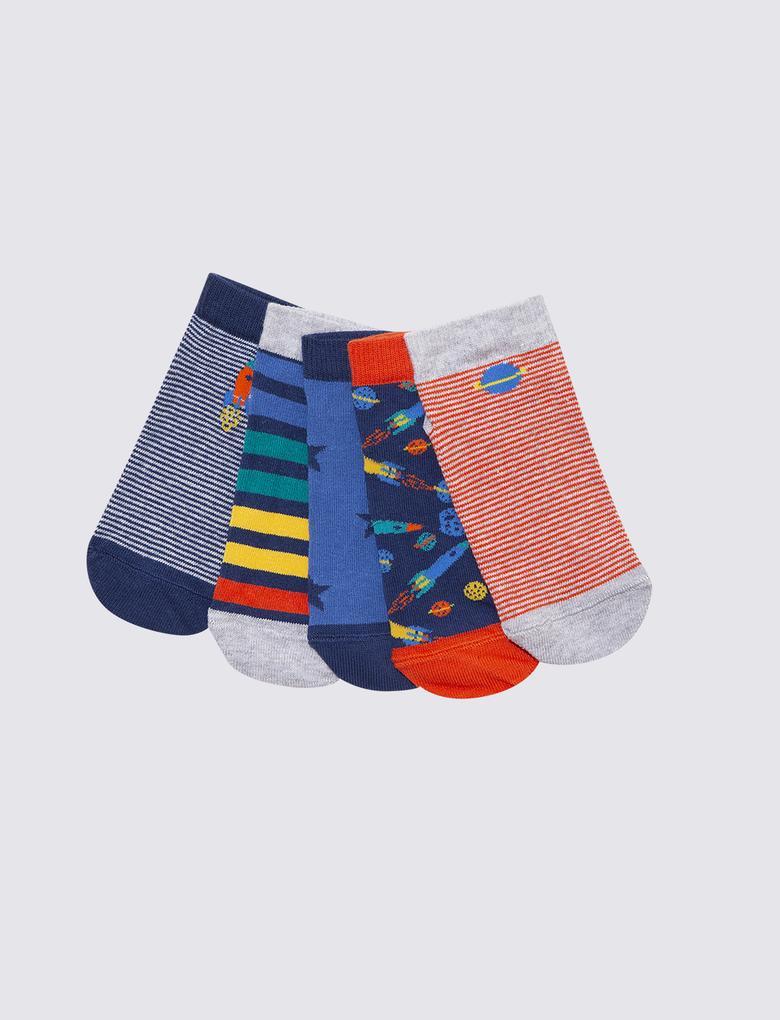 Çocuk Multi Renk 5'li Kamuflaj Desenli Çorap Seti