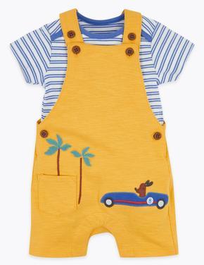 Bebek Sarı Kısa Kollu  Body ve Tulum Takımı