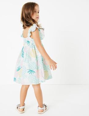 Kız Çocuk Beyaz Fırfır Detaylı Askılı Desenli Elbise