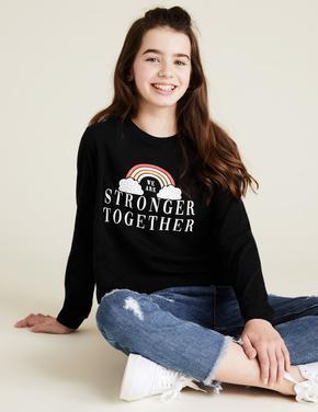 Kız Çocuk Siyah Saf Pamuklu Gökkuşağı Baskılı T-Shirt