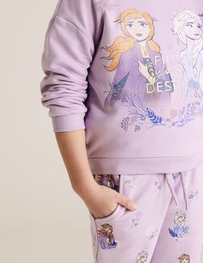 Kız Çocuk Mor Disney Frozen™ Grafik Sweatshirt