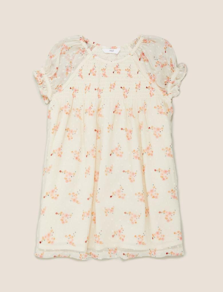Kız Çocuk Krem Çiçek Desenli Kısa Kollu Elbise