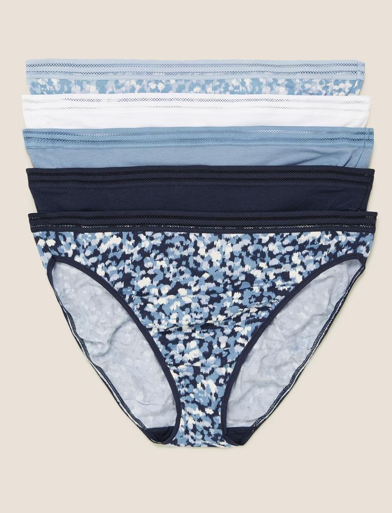 Mavi 5'li Çiçek Desenli High Leg Külot Seti
